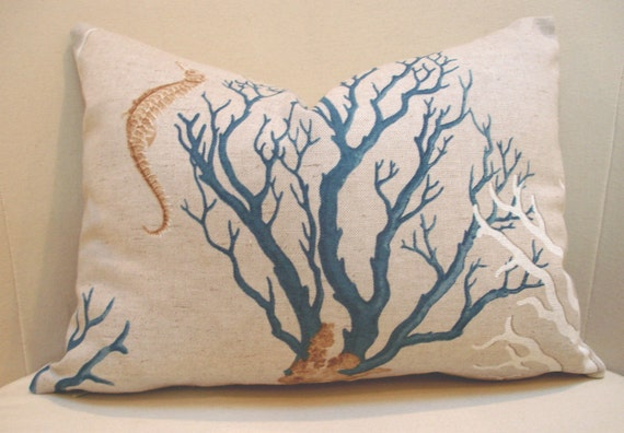 "12"" x 16"" Linen Sea side print Pillow Cover"