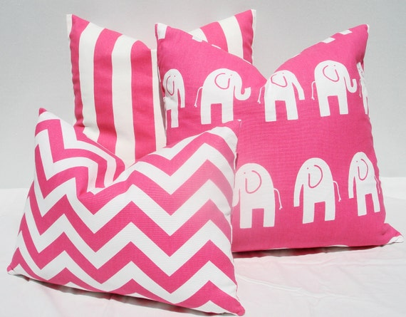 "12"" x 16""  Pink and white chevron pillow cover"