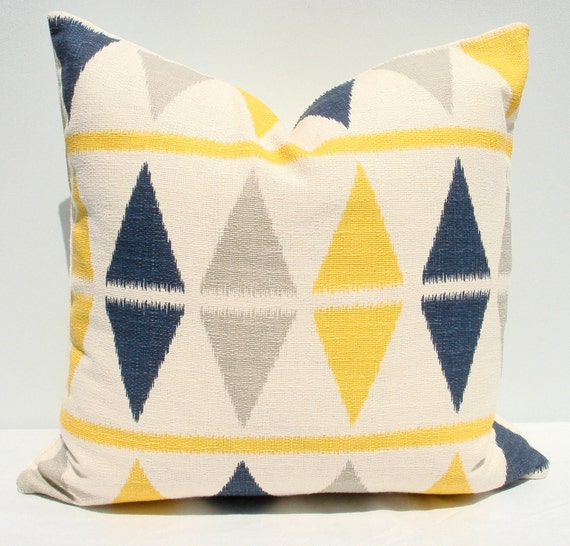 "18"" x 18"" indigo, grey, yellow and cream ikat diamond pillow cover"