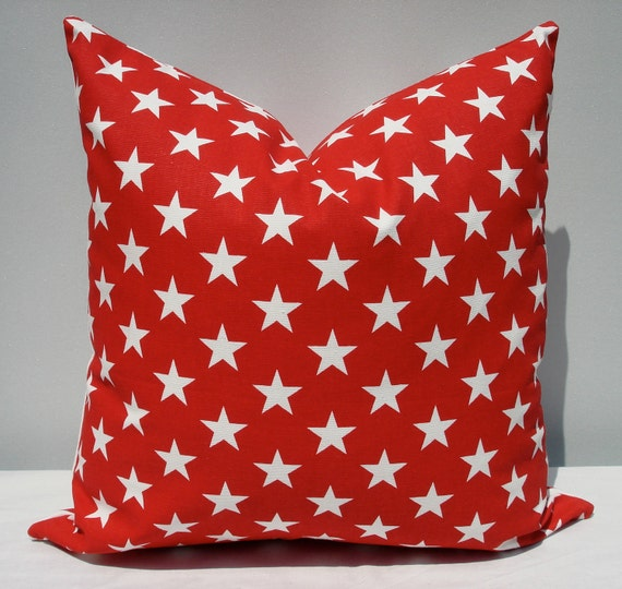 "18"" x 18"" red and white stars and stripes pillow cover"