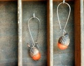 Free Shipping Bittersweet Mini Acorn Earrings - Rustic Charm - Natural Acorn Caps Wool Felt and Antiqued Copper
