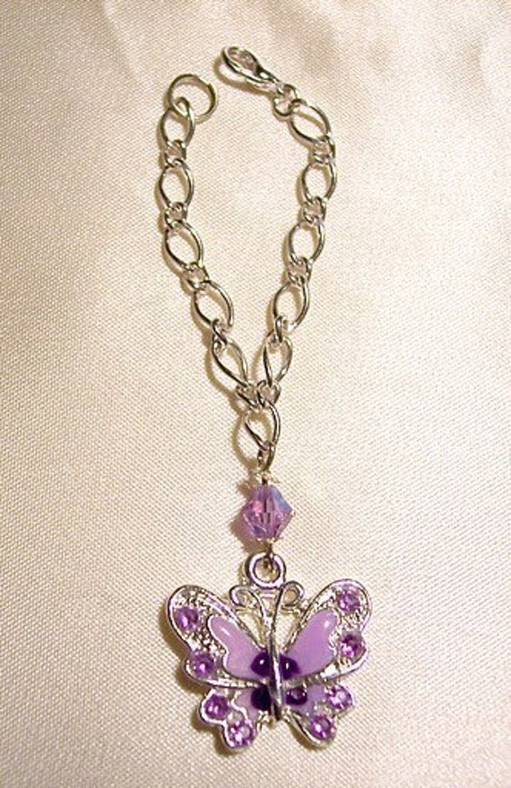 purple butterfly rhinestone charm silver and purple swarovski crystal doll necklace for Blythe Barbie dolls jewelry