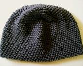 Charcoal Gray Cotton Tight Stitch Beanie