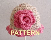Blooming Rose Beanie PDF Crochet Pattern, OK to sell finished items