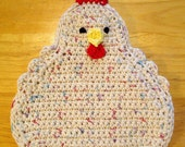 Funky Speckled Chicken Potholder, Double Thickness - Beige