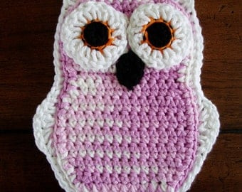 Funky Little Owl Potholder, Double Thickness, Lilac