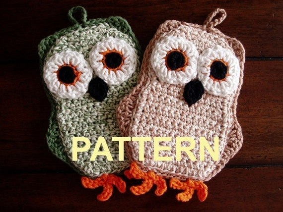 Funky Little Owl Potholder Crochet PDF Pattern