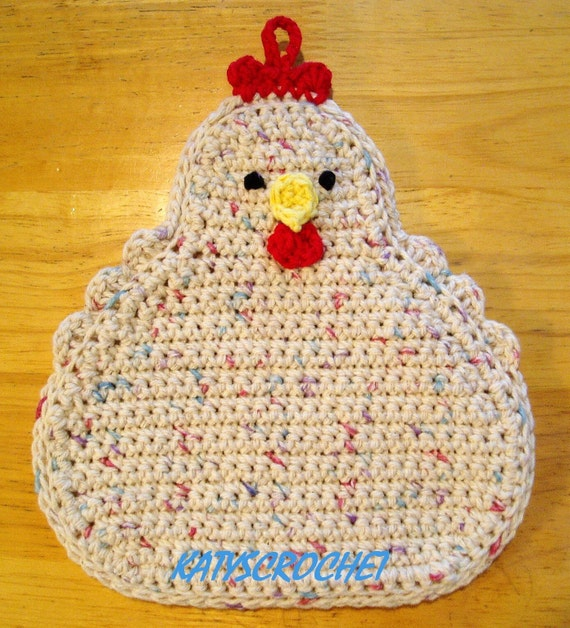 Easter Pot Holders Crochet: Funky Speckled Chicken Potholder Double Thickness Beige