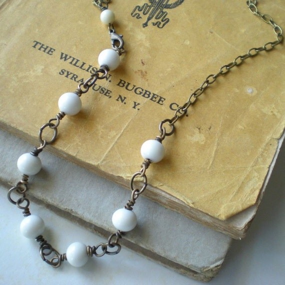 vintage white glass bead necklace