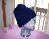 Navy Blue Hand Knitted Watch Cap