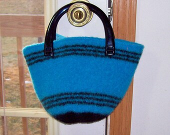 Turquoise Hand Knitted Felted Bucket Bag