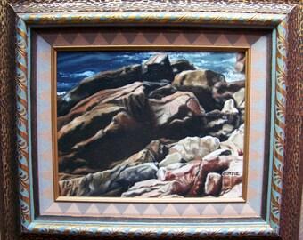 Rocky Coast Maine Ornate Frame Oil Painting