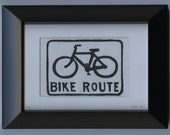 Bike Route linocut- limited series of 5
