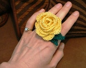 Romantic Yellow Rose Ring Lace Crochet Thread Adjusts SZ 6 - 7 COOL Comfortable and LOVELY