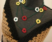 Fine Lace Crochet Green Red Flower POWER White Yellow Red Multi-Flower Lace Necklace Scarf Wristlet Bracelet Anklet Wear Multiple Ways
