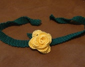 Valentine Romantic Yellow Rose Thread Crochet Choker Necklace, Wristlet, Corsage, Prom, Wedding Mothers Day