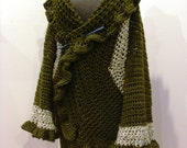 Green Ruffle LONG Sweater Coat Adjusts One Size Fits Most From Sm to Lg