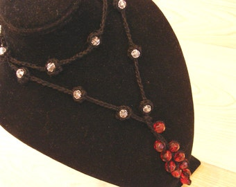 Beaded Lariat Cotton Thread Crochet 35.5 Inches Long - Black Crochet With Red and Clear Faceted Beads