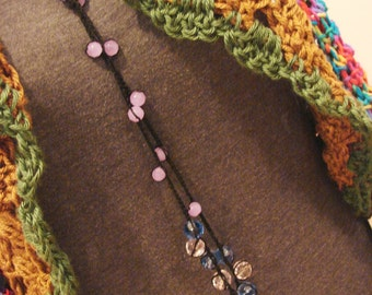 Beaded Lariat Clacker Necklace - Cotton Thread Crochet 42 Inches Long - Black Crochet With Pink , Blue and Lavender Faceted Beads