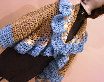 Bohemian Style Ruffle Sweater Jacket Wrap - Beach Dreams - Tan Blue and White - Adjusts One Size Fits Most From Sm to Lg ONE of a KIND