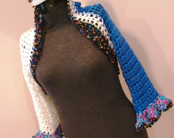 Blue and White Crop Sweater Shrug Party Confetti Carnival Ribbon SZ XS - SM