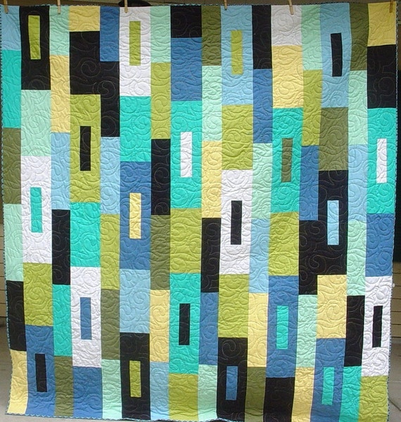 On Sale, handmade quilt, modern blue abstract, 71 inches by 78 inches