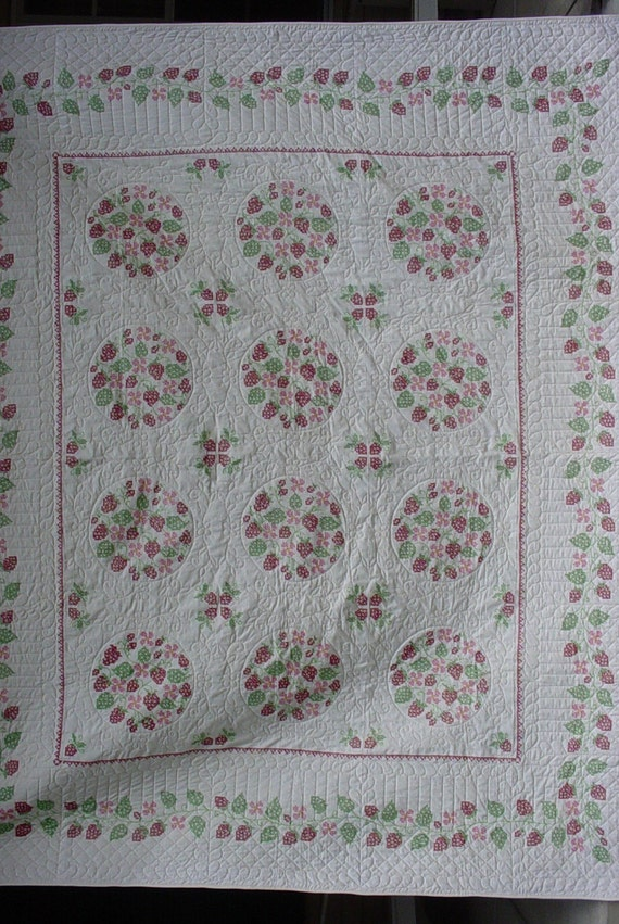 Vintage strawberry fields cross stitched, whole cloth quilt, queen size