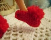 Red Pom Pom Slippers for Blythe and Barbie