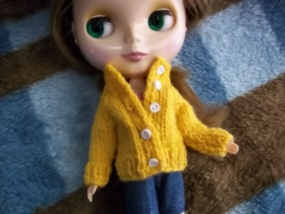 Adorable Mustard-colored Cardigan Sweater for Blythe and Skipper