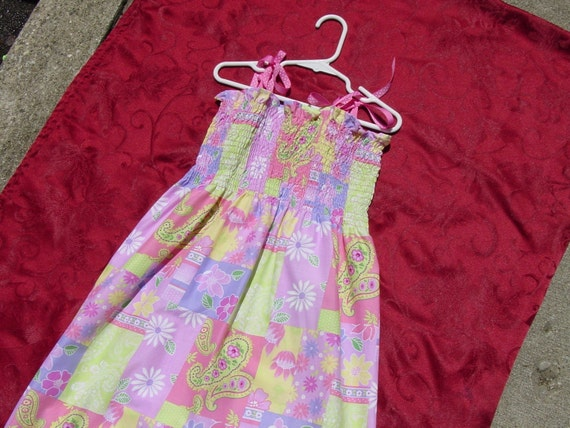 Pink Paisley Patchwork Elastic Top Summer Dress - Girl's sizes 4,5,6,7, or 8