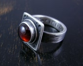 Made to Order Deep red round Garnet or Amethyst with square setting sterling silver