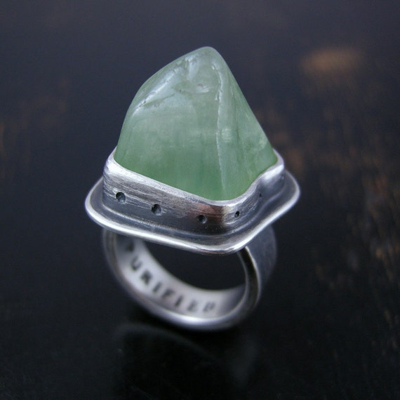 SALE 30% OFF Natural style Green Prehnite mountain ring sterling silver