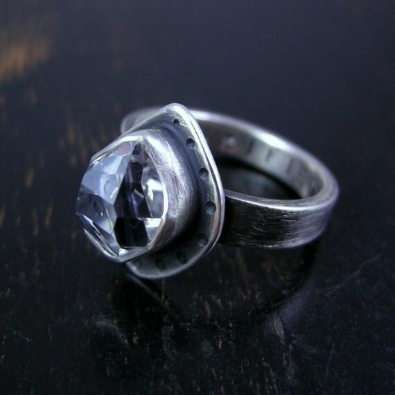 Little Herkimer Diamond ring sterling silver crystal quartz