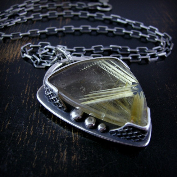 Golden star rutile quartz pendant, sterling silver with anchor chain