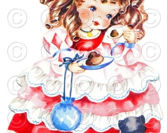 Curly Locks (Style 2) Crown Kitten Pretty Girl Doll Card Vintage Digital Image Illustration