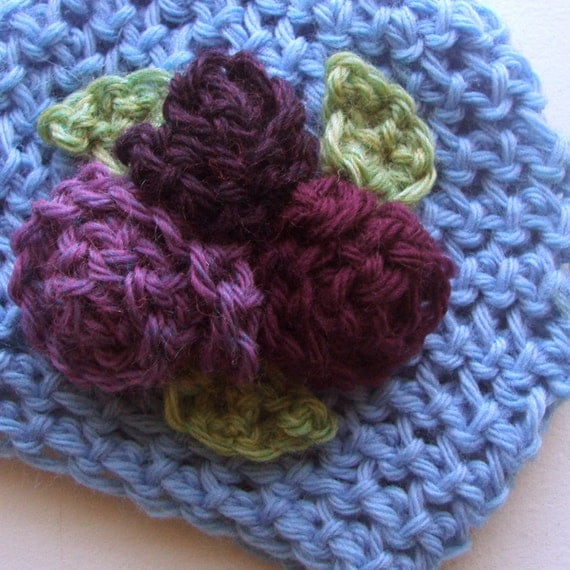 RESERVED Fredricka - newborn 0 to 3 month baby hat with flowers in cool colors