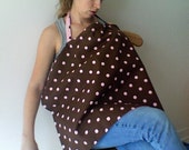 CLEARANCE SALE-  pink and brown polkadot nursing cover