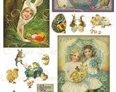 Spring, A Joyous Easter, Digital Collage Sheet Instant Digital Download, DC014.