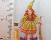 Izzy The Witch and Cleo the cat fabric Doll Kit