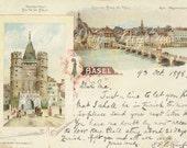 Basil, Switzerland 1898, Photo Postcard scenes and script Scan Instant Digital Download FrA015