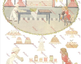 Digital Collage Sheet, Pat-A-Cake, Instant Digital Download, Bakery DB016