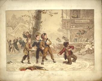 1850 Christmas Scraps Album, page 27, Instant Digital Download book scan, DB005