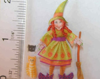 Izzy The Witch and Cleo the cat fabric Doll Kit DK001
