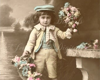 Sweet Kisses from young Jules - French Postcard - Bouquet - Adorable Young French Boy - French Stamp - Instant Digital Download FrA035
