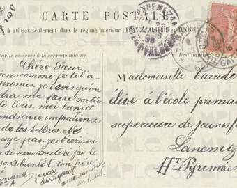 French Script to a Young Girl at a  Girl's School in the Hautes-Pyrénées, Stamp,1905, French Postcard Scan Instant Digital Download FrA045