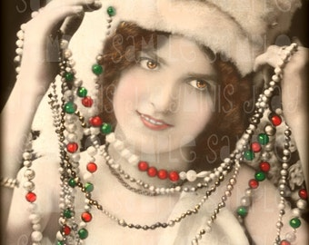 Christmas, Louanne with a Garland - French Postcard 1906 - Scan, Gift Tag -Instant Digital Download FC020