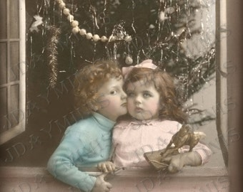 French Christmas, Pierre and Jeanne in a Christmas Window - French Postcard Scan, Gift Tag -Instant Digital Download FC032