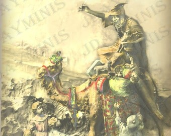 Santa, Pere Noel on a Camel - Victorian French Postcard - Photo Scan - Instant Digital Download FC037