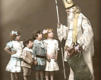 French Christmas, St. Nicholas talking to Children, Santa - French Postcard Scan, Gift Tag -Instant Digital Download  FC049