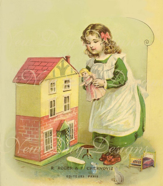 French Dollhouse book cover image La Maison de Lilie, Instant Download - French Book Scan DB004
